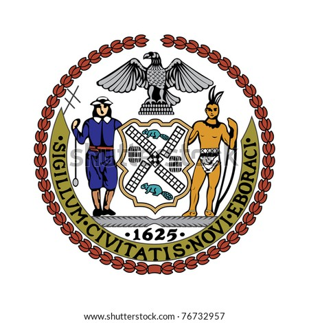 Seal of American city of New York; isolated on white background. - stock photo
