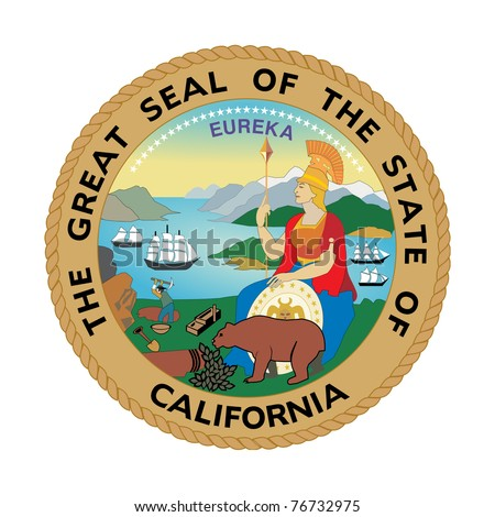 Seal of American state of California; isolated on white background. - stock photo