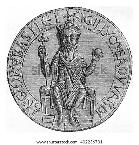 Seal of Edward the Confessor, vintage engraved illustration. Colorful History of England, 1837.