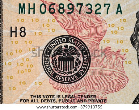 Seal of the Fed Reserve System on the us 10 dollar bill macro, united states money closeup - stock photo