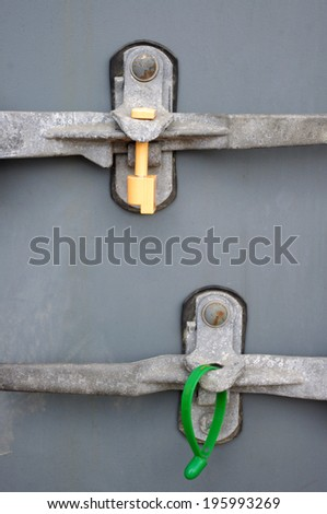 Seal safety lock on container box - stock photo