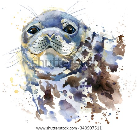 seal T-shirt graphics, marine seal illustration with splash watercolor textured background. illustration watercolor fur seal for fashion print, poster for textiles, fashion design - stock photo