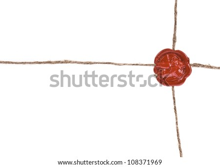 Seal wax with the cord isolated on white background - stock photo