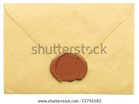 sealed brown envelope isolated on white background - stock photo