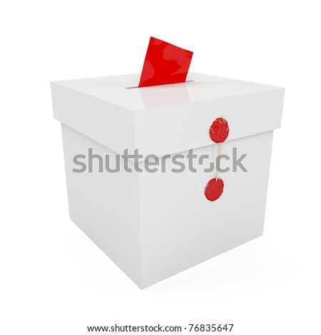 Sealed with wax ballot box with inserted paper - stock photo