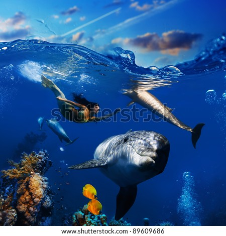 sealife underwater scene beautiful mermaid wearing golden tail swimming and playing with funny dolphins - stock photo