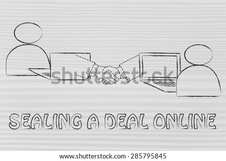 sealing a deal online: users virtually shaking hands through the web - stock photo