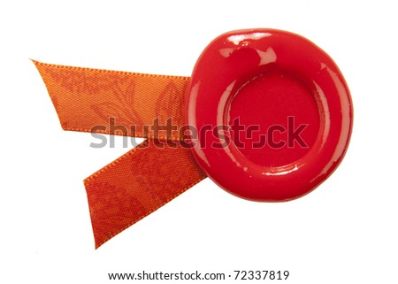 sealing wax with ribbons. isolated on white - stock photo