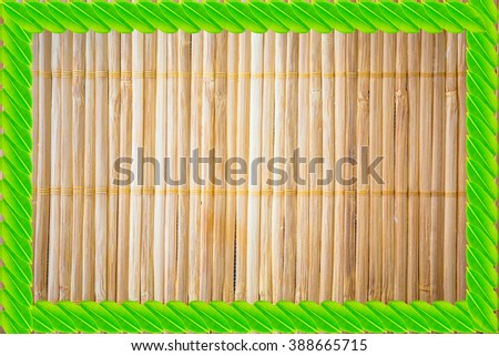 Seam pattern wooden with green leaf frame on white background