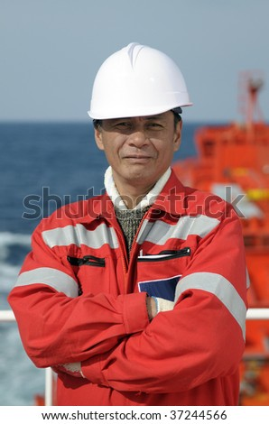 Seamen â?? old boatswain of the tanker ship - stock photo