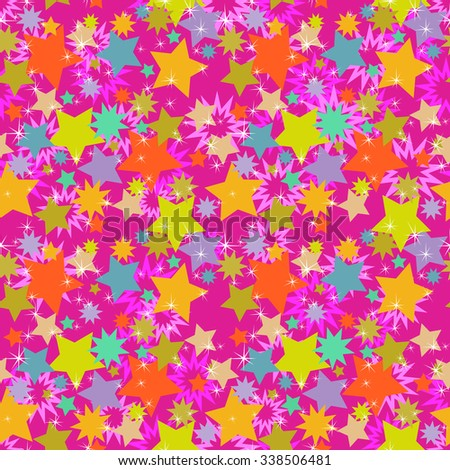 Seamless Abstract Background, Pattern of Colorful Stars.  - stock photo