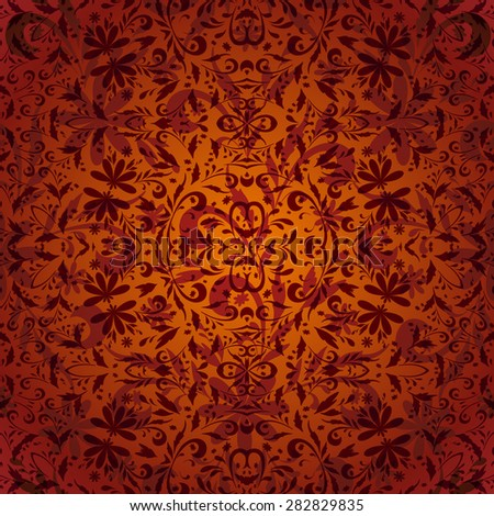 Seamless Abstract Background with Symbolical Floral Pattern - stock photo