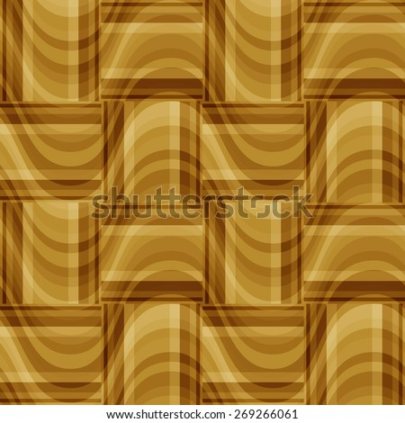 seamless abstract beige pattern golden texture with brown rectangle with cream line on  sand wicker background. raster illustration - stock photo