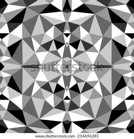 seamless abstract black white pattern with grey triangle raster