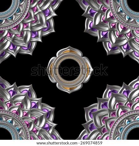 seamless abstract chakra pattern, geometric background - stock photo