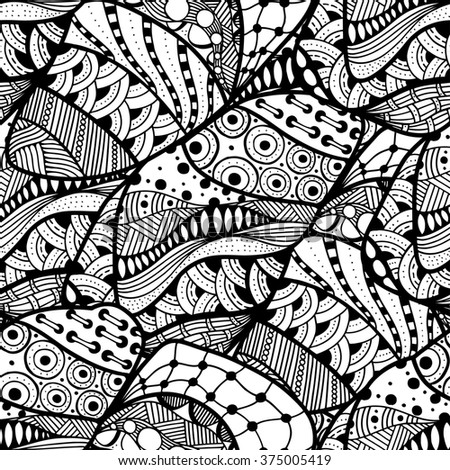 Seamless abstract doodle background pattern in art.  Design Asian, ethnic, Tangle Patterns, tribal pattern. Black and white background. Coloring book. Monochrome.