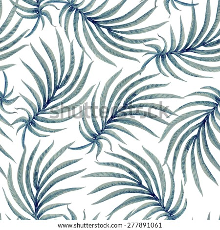 Seamless abstract floral pattern from watercolor painted tropical palm leaf silhouette on a light grey background - stock photo