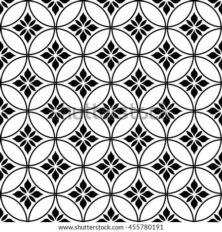 Seamless abstract floral pattern. Stylish background. Ornament for wrapping, wallpaper, tiles. Black and white graphic pattern. - stock photo