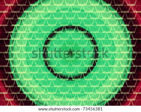 seamless abstract green vortex under white graphic cell shapes with red corners - stock photo