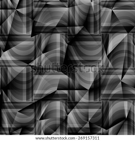 seamless abstract grey pattern gray texture with rectangle with black line on dark grey wicker background. raster illustration - stock photo