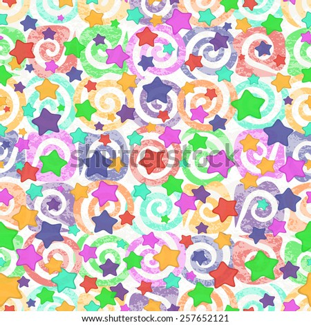 Seamless abstract pattern, colorful stars and spirals on white background - stock photo