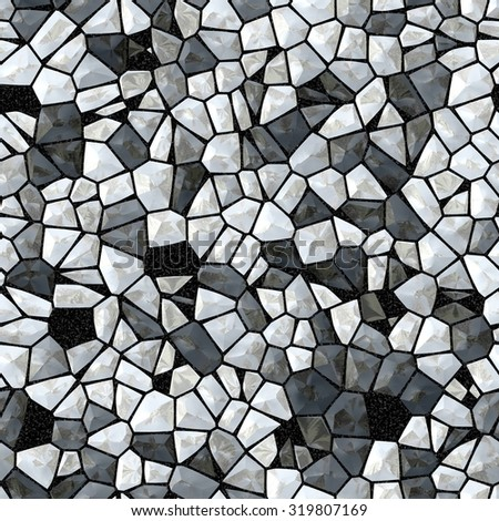 Seamless abstract pattern of gray stones and diamonds. Glass crystals as background. Gray stone and glass tiles. - stock photo