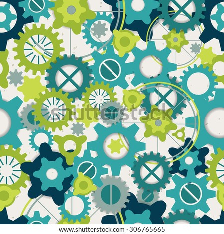 Seamless abstract pattern of pastel green gears - stock photo