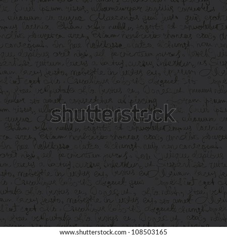 Seamless abstract text pattern on dark gray background. Raster version. - stock photo