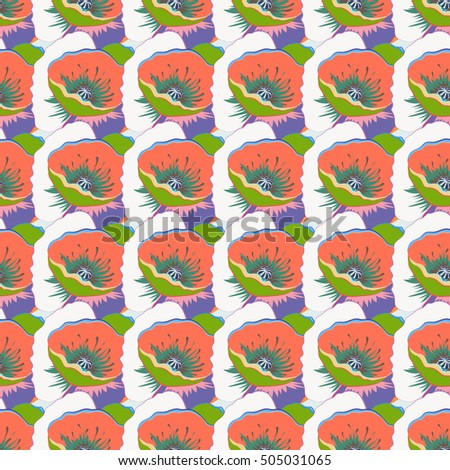 Seamless abstract tropical flower pattern with watercolor effect.