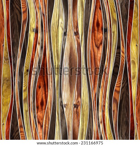 Seamless abstract wooden pattern, waves, cherry veneer - stock photo