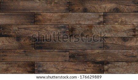 Seamless aged wood background - stock photo