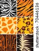 Seamless animal patterns, Bitmap copy - stock vector