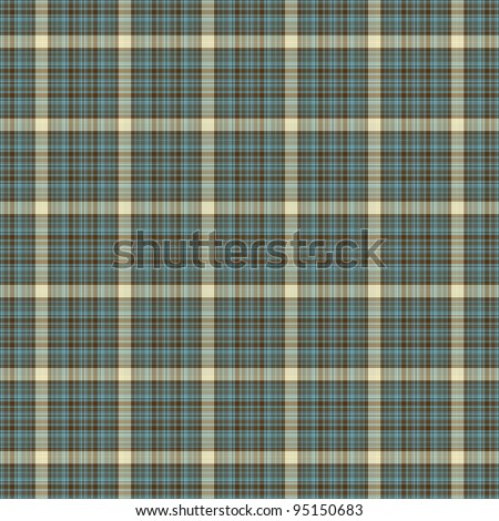 Seamless Aqua, Brown, & Cream Plaid Background Wallpaper - stock photo