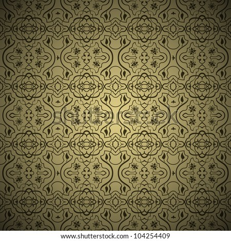 Seamless arabic background pattern. Gold and Black