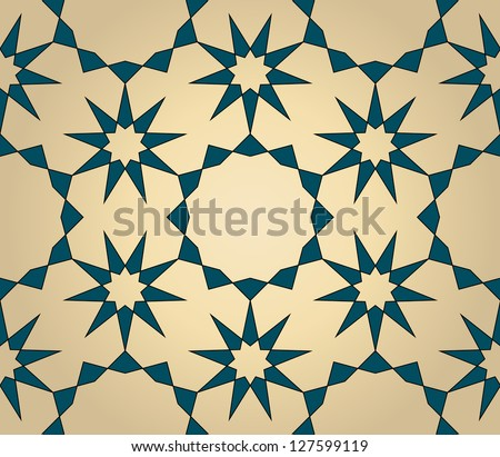 Seamless arabic background with flowers and stars - stock photo