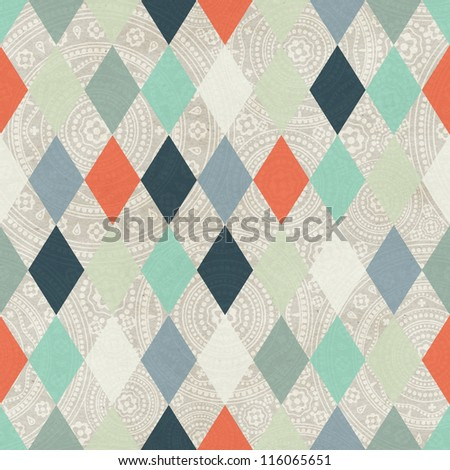 Seamless argyle based winter pattern on paper texture - stock photo