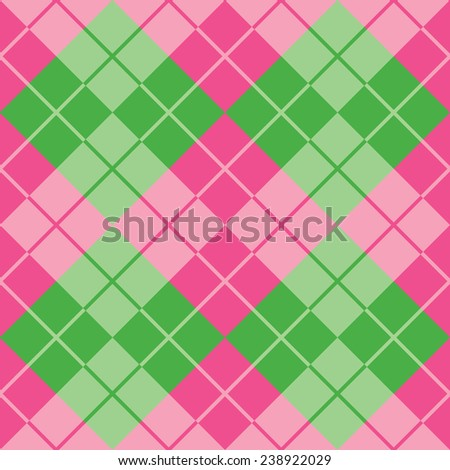 Seamless argyle pattern in pink and green. - stock photo
