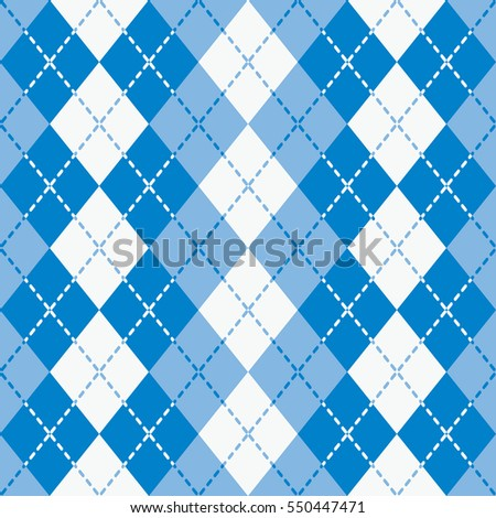 Seamless argyle pattern with dashed lines in shades of  blue and white.