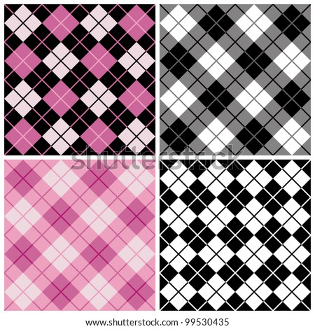 Seamless argyle-plaid patterns in trendy pink and black. - stock photo