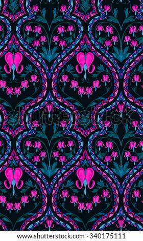 Seamless Art Nouveau Wallpaper Pattern Ornaments Borders And Bleeding Heart Flowers In A Gentle