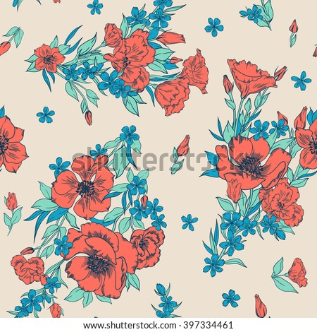 seamless artistic hand drawn gentle artistic romantic anemone flowers pattern, beautiful bright summer buckets background allover print - stock photo