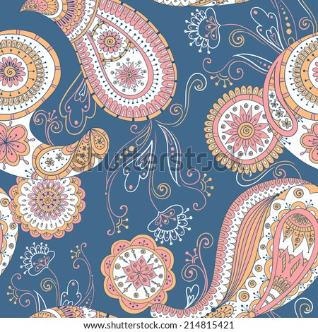 Seamless asian floral retro background pattern in . Henna paisley mehndi doodles design ethnic pattern. Used clipping mask for easy editing. Colored version.