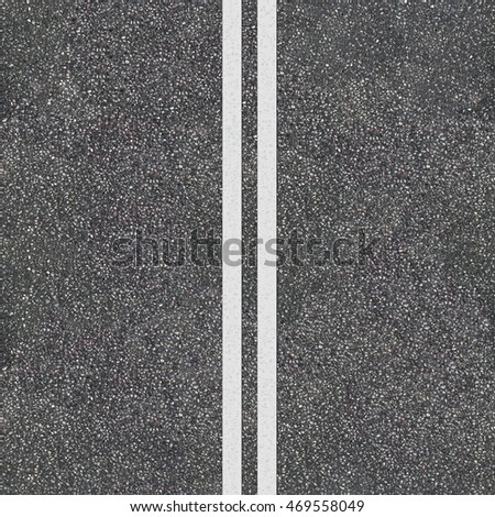 Seamless asphalt road texture with the double dividing full-line. Road top view template.