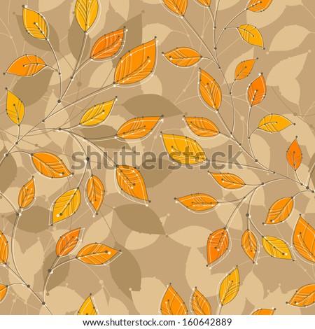 seamless autumn branches, rasterized - stock photo