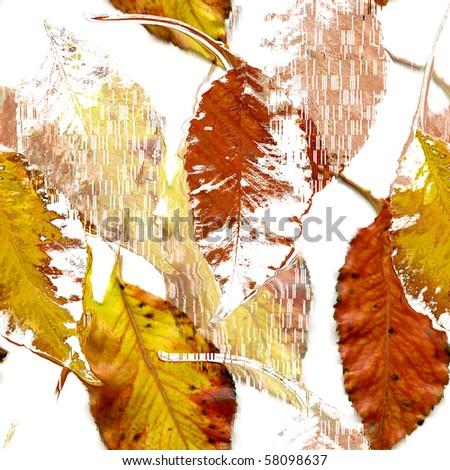 Seamless Autumn Leaves Art Abstract Design - stock photo