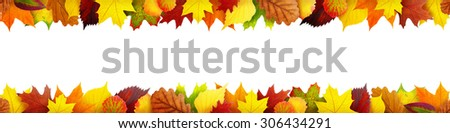 Seamless autumn leaves banner with clipping path - stock photo