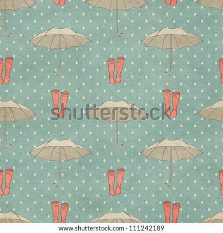 Seamless autumn pattern on paper texture - stock photo