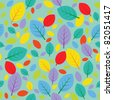 Seamless autumn pattern with color leafs. Raster version. - stock photo