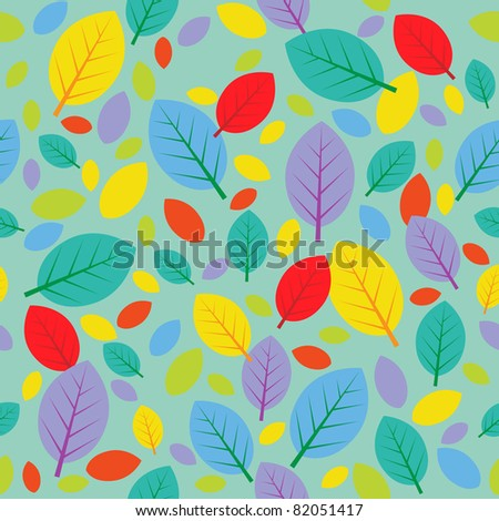 Seamless autumn pattern with color leafs. Raster version.