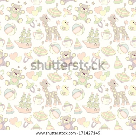 Seamless baby background, pastel colors - stock photo